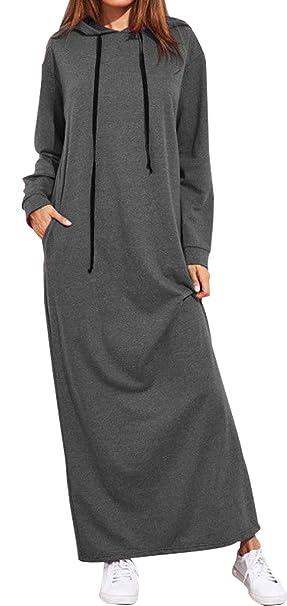 BLACKMYTH Mujer Color Puro Maxi Largo Cordón Sudaderas con Capucha Vestido Loose Manga Larga Sweatshirts Pullover con Bolsillo: Amazon.es: Ropa y accesorios