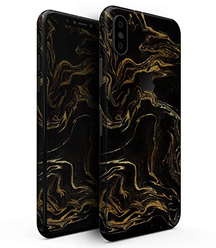 Black & Gold Marble Swirl V3 - Design Skinz Premium Skin Decal Wrap for The iPhone Xs MAX