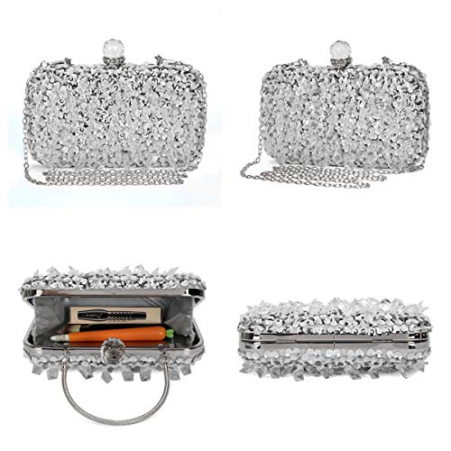 UBORSE Women Wedding Clutch Rhinestone Bling Sequin Evening Bags Vintage Crystal Beaded Cocktail Party Party Purse Silver by UBORSE (Image #2)