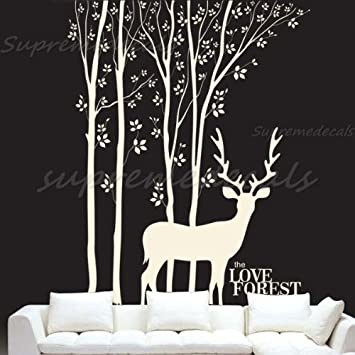 Amazoncom Custom Color PopDecals Love Forest And Deer Vinyl - Custom vinyl wall decals deer