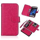 PHEVOS Samsung Galaxy S7 wallet Case,[Detachable Wallet Folio][9 Card slot 2 in 1][Premium Vegan Leather](s7 rose)