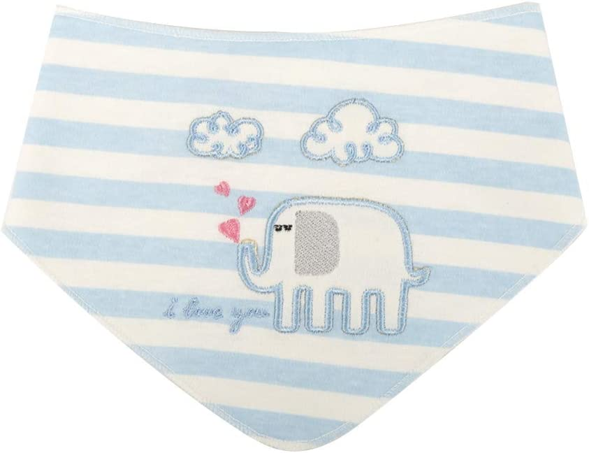 Baby Drool Feeding Bibs Bear 3 Packs Unisex Size Adjustable Embroidery Bandana Bib Double Layer Breathable Cotton Teething Bibs for Babies Super Absorbent