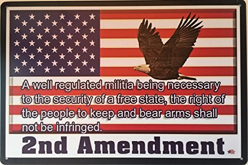 "Dehavre 2nd Amendment Vintage American Flag with Bald Eagle Tin Sign USA Second 2A Home Man Cave Gun Safe 8""x12"" inches Tin Sign"