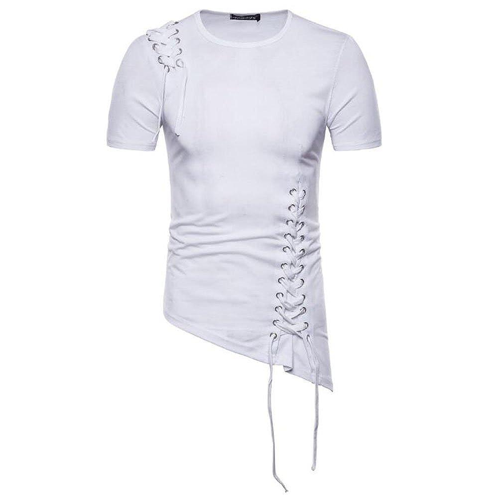 Camiseta de Manga Corta con Cuello Redondo de Manga Irregular para Hombres Huateng Ropa Casual de Verano para Hombres