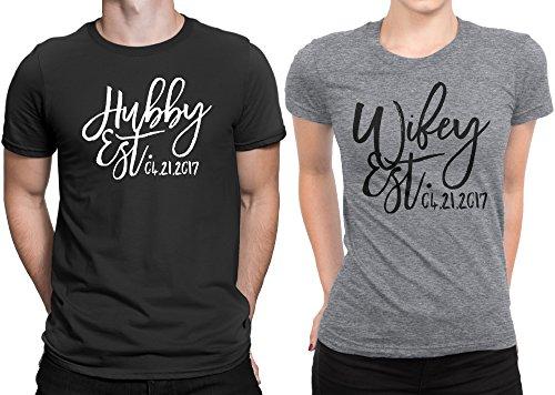 Hubby est Wifey est Wedding Date Couple Matching T-shirt Honeymoon valentines day Men Medium / Women Small | Black - Deep Heather by Sugar Yeti