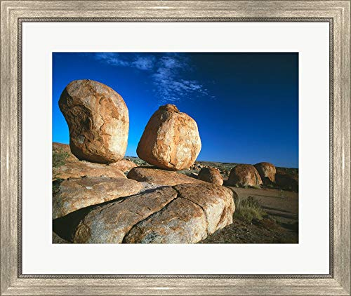 - Rocks on an arid Landscape, Devil's Marbles, Northern Territory, Australia Framed Art Print Wall Picture, Silver Scoop Frame, 28 x 24 inches