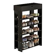 Dland Shoe Racks 5-Tier & 1-Cabinet Multi-function Economy Storage rack Solid Wood Shelf Organizer, Black