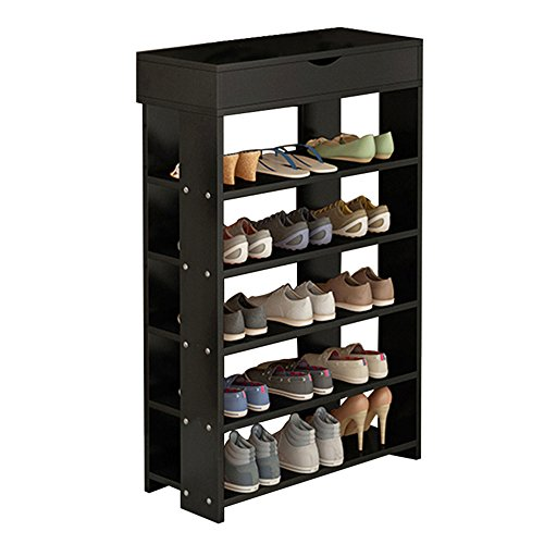 Dland Shoe Racks 5-Tier & 1-Cabinet Multi-function Economy Storage Rack Wood Shelf Organizer, Black (5 Shelf Shoe Cabinet)