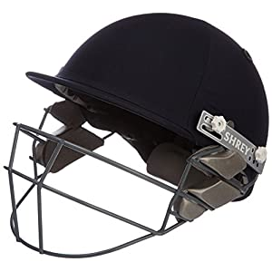 Shrey Sh101008 Premium Carbon-Steel Cricket Helmet with Mild Steel Visor, Large (Navy Blue)