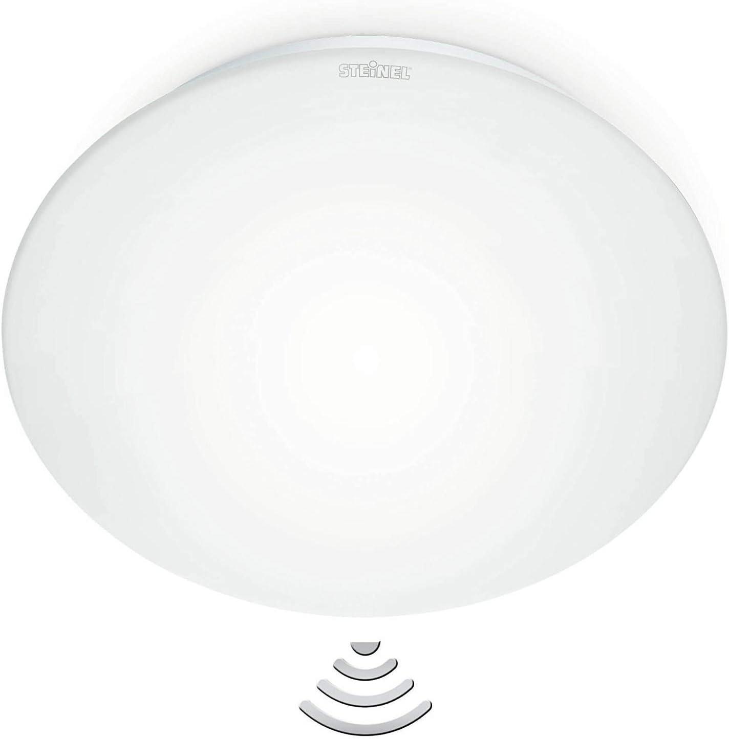 Steinel RS 16 L blanco - Lámpara sensor de techo para el interior, con 360° Detector de movimiento, Sensor invisible con técnica de alta frecuencia, Potencia de 60 W, Cristal opalino, 738013