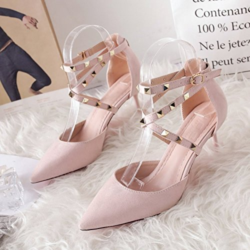 GAOLIM Remache Zapatos De Mujer Con Lady Zapatos Zapatos Única Sugerencia Primavera Sandalias De Tacón Alto Rosa