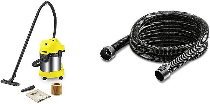 Kärcher WD 3 Premium - Aspirador en seco y húmedo, 1000 W, 17 l con depósito en acero inox + Kärcher 2.863-001.0 Prolongación de manguera de aspiración de 3.5m, Negro: Amazon.es: Bricolaje y herramientas