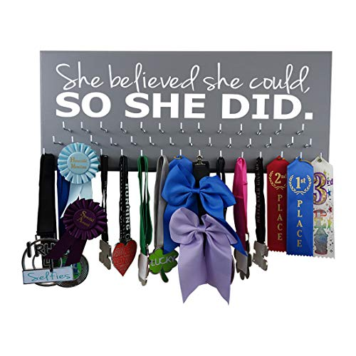 (Medal Display - SHE Believed SHE Could, SO SHE DID - All Sports - Running - Gymnastics - Swimming - Cheerleading - Soccer)