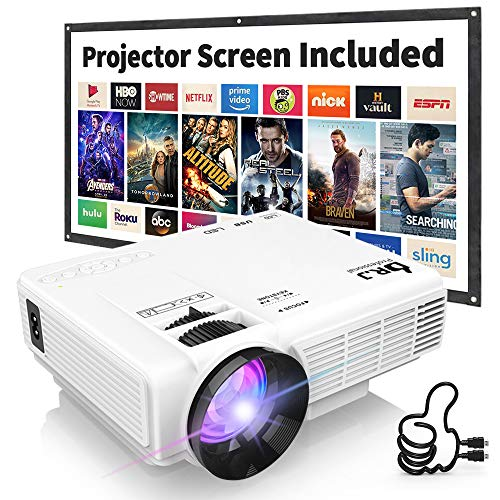 """DR. J Professional HI-04 1080P Supported 4500lumens 4Inch Mini Projector with 170"""" Display - 40,000 Hours LED Full HD Video Projector, Compatible with HDMI,USB,SD (Latest Upgrade)"""