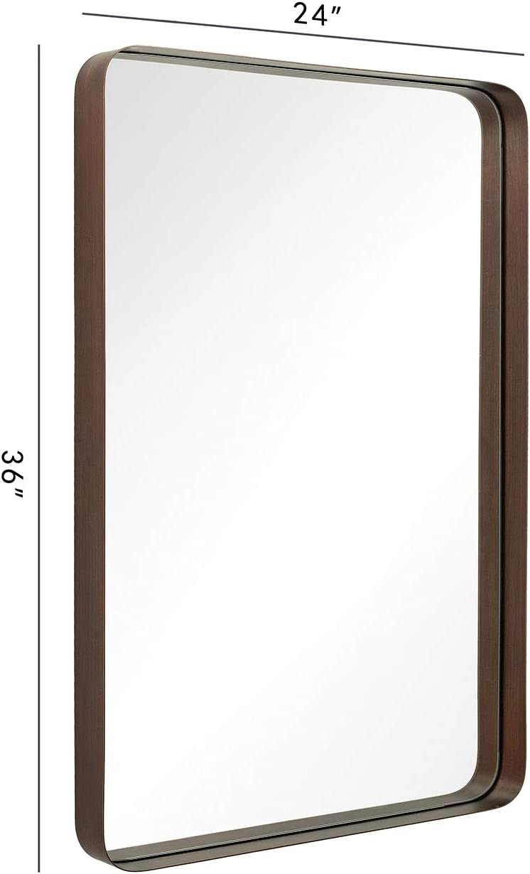 ANDY STAR Bronze Rectangular Wall Mirror 24×36 Contemporary Stainless Steel Metal Frame Rounded Corner 2 Deep Set Design for Bathroom