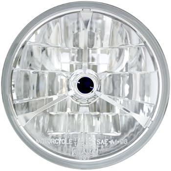 Adjure T40704 4-1//2 Pie Cut Black Dot Tri-Bar Motorcycle Headlight with H4 Bulb