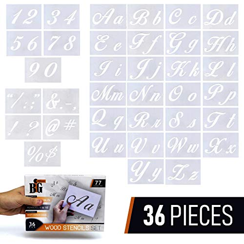 Letter Stencils for Painting on Wood - Alphabet Stencils with Calligraphy Font Upper and Lowercase Letters - Reusable Plastic Art Craft Stencils with Numbers and Signs - Set of 36 -