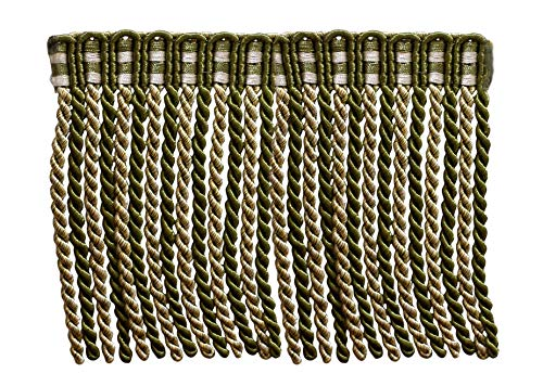 (6 Inch Long Bullion Fringe Trim, Style# DB6 - Olive Green, Light Gold, White - Olive Garden 010 (Sold by The Yard))