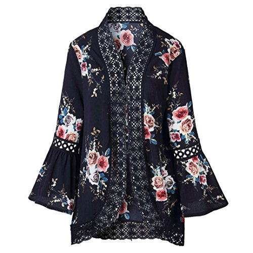 for Women Loose Blouse Lace Floral Open Cape Casual Coat Cardigan ()