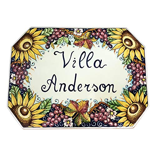 CERAMICHE D'ARTE PARRINI - Italian Ceramic Art Pottery Tile Custom House Number Civic Panel Decorated Grape Sunflowers Hand Painted Made in ITALY Tuscan