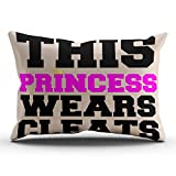 KEIBIKE Personalized This Princess Wears Soccer Softball Cleats Rectangle Decorative Pillowcases Coral Decor Zippered King Pillow Covers Cases 20x36 Inches One Sided