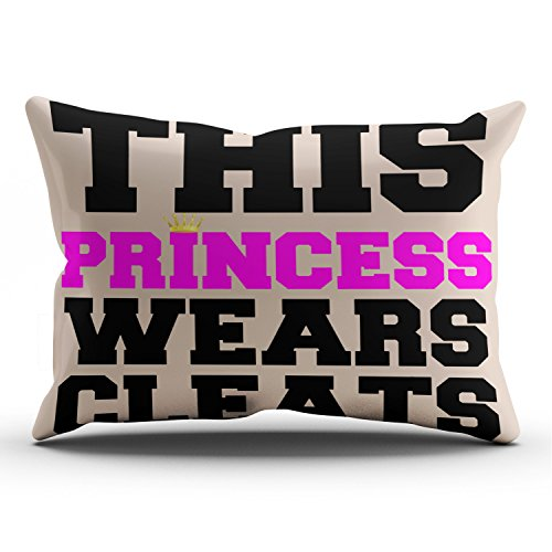 KEIBIKE Personalized This Princess Wears Soccer Softball Cleats Rectangle Decorative Pillowcases Coral Decor Zippered King Pillow Covers Cases 20x36 Inches One Sided by KEIBIKE