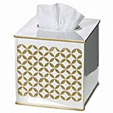 Creative Scents Gold Tissue Box Cover Square - (6'' x 6'' x 5.75'') – Decorative Bath Tissues Napkin Holder With Bottom Slider- For Cute Elegant Bathroom Decor Diamond Lattice Collection
