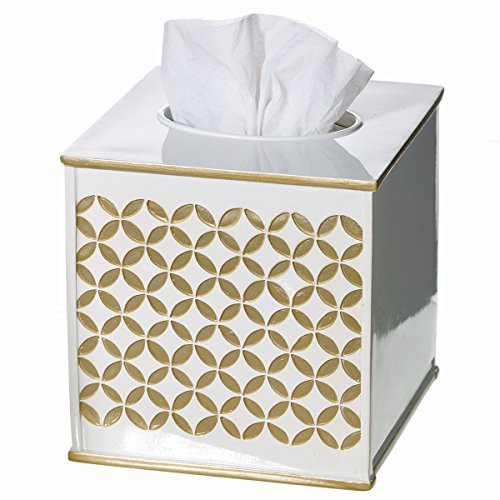 "Creative Scents Gold Tissue Box Cover Square - (6"" x 6"" x 5.75"") – Decorative Bath Tissues Napkin Holder With Bottom Slider- For Cute Elegant Bathroom Decor Diamond Lattice Collection"
