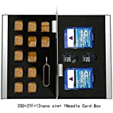 Myymee 2 SD Card Holders + 2 TF Card Holders+ 12 Nano Sim Card Holders+1 Needle,Metal Aluminum alloy SD Card Holder Case Mobile Phone Memory Card Storage Case Silver