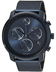 Movado Mens Swiss Quartz and Stainless-Steel-Plated Casual Watch, Color:Blue (Model: 3600403)