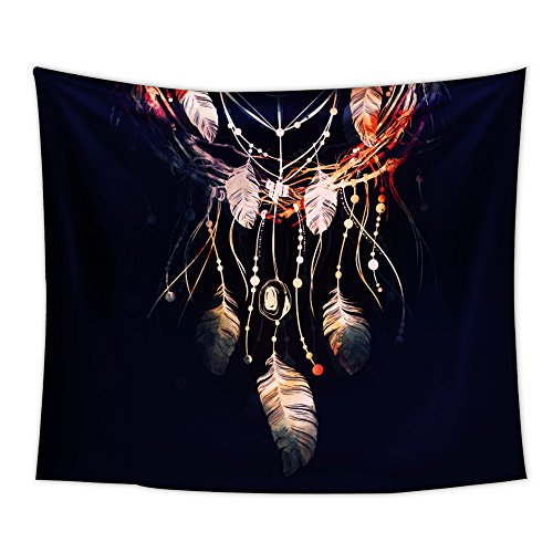 Uphome Dream Catcher Tepestry, Fairy Feather with Light on The Blue Bohemian Wall Hanging Light-Weight Polyester Fabric Decor for Home Living Room Dorm (60