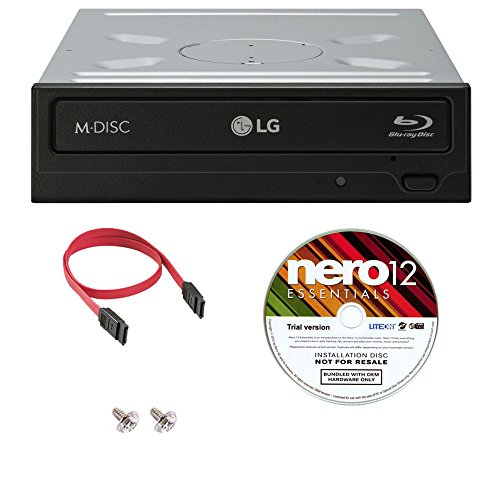 LG WH14NS40 16X Blu-ray BDXL DVD CD Internal Burner Drive Bundle with Free Nero Burning Software + SATA Cable + Mounting Screws (Best Internal Blu Ray Drive)