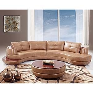 Amazon.com: Global Muebles Seccional sofá de piel regenerada ...