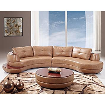 Superb Global Furniture Bonded Leather Sectional Sofa, Honey