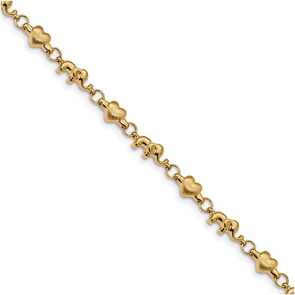 14k Yellow Gold Polished and Satin Heart and Elephant Link Bracelet FB1477-7.25''