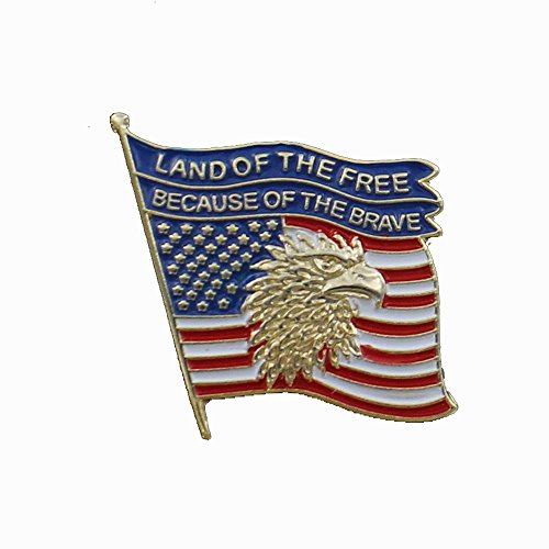 American Flag Pin, Land of the Free - Pack of - Gold Enameled Flag