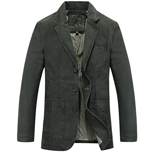 Newbestyle Men's Casual Solid Cotton Twill Suit Three-Buttons Blazer Jacket Army Green ()