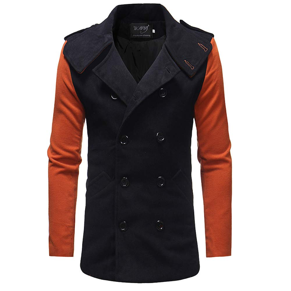 Men's Trenchcoat Double Breasted Overcoat Patchwork Pea Coat Classic Wool Blend Slim Fit Sinzelimin