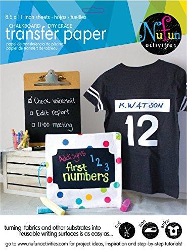 NuFun Activities Inkjet Printable Iron On Chalkboard And Dry Erase Heat  Transfer Paper, 8.5