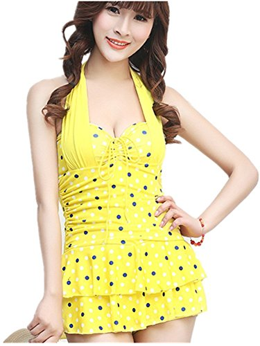 Price comparison product image Banano Women Sport Double Up Tankini Top Swimsuit Yellow M