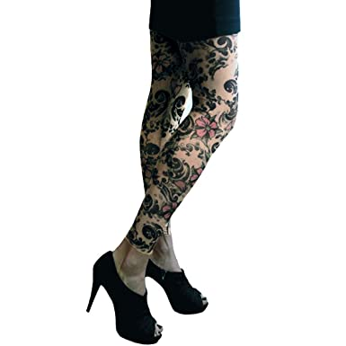 71f81906de236 Wild Rose 102 Ladies Tattoo Illusion Print Mesh Leggings Footless Tights  with black stretch lace hipband, Cherry Blossoms, Tan, X-Large:  Amazon.co.uk: ...