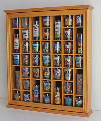 41 Shot Glass Display Case Holder Cabinet Wall Rack with Glass Door (Oak ()