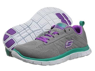 bb53fe47b359 Womens Skechers Flex Appeal Sweet Spot Charcoal Purple Trainers 5 ...