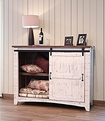 Anton Distressed White Sliding Barn Door Farmhouse Entry Table Console With Brown Wood Top And Hand Forged Custom Handles. Fully Assembled Shabby Chic Console