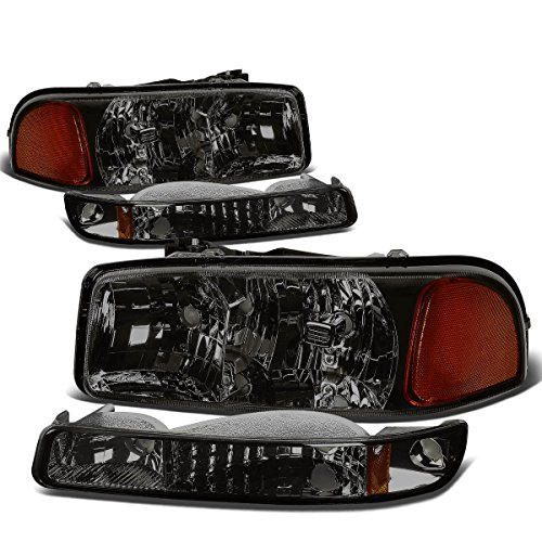 For GMC Sierra/Yukon GMT800 4Pcs Smoked Lens Amber Corner Headlight+Bumper ()