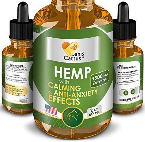 Hemp Oil for Dogs & Cats - 1500 MG - Natural Dog Pain Relief - Anxiety&Stress Relief - Supports Hip&Joint Health - Hemp Skullcap Passionflower Oregano Chamomile - Calming Effect