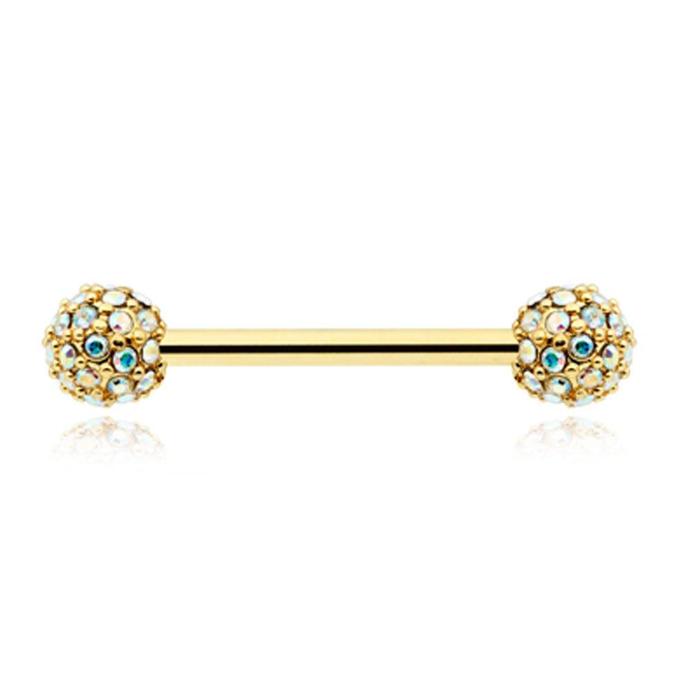 Inspiration Dezigns Pair of 14G Golden Aurora Borealis Gems Full Dome Cluster Nipple Barbell Ring