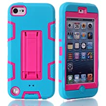 iPod Touch 6 Case,iPod Touch 5 Case, NOKEA Case Rugged Hybrid Dust Scratch Shock Resistance Kickstand Full Cover Case with Video Watching Stand for iPod touch 5 6th Gen (Blue Red)