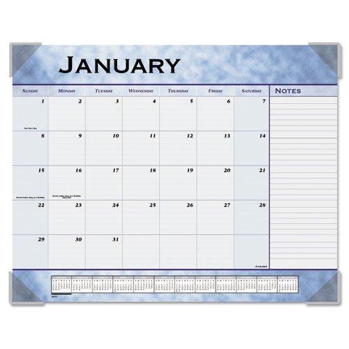 Slate Blue Desk Calendar Pad - At-A-Glance Marble Look Slate Blue Desk Pad Calendar - Monthly - 22