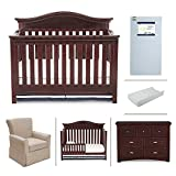 Nursery Furniture Sets with Convertible Crib Nursery Furniture Set with Convertible Crib, Crib Mattress, Glider, Dresser, Changing Pad and Daybed/Toddler Guardrail by Simmons Kids – 6-Piece Augusta Collection in Molasses Brown